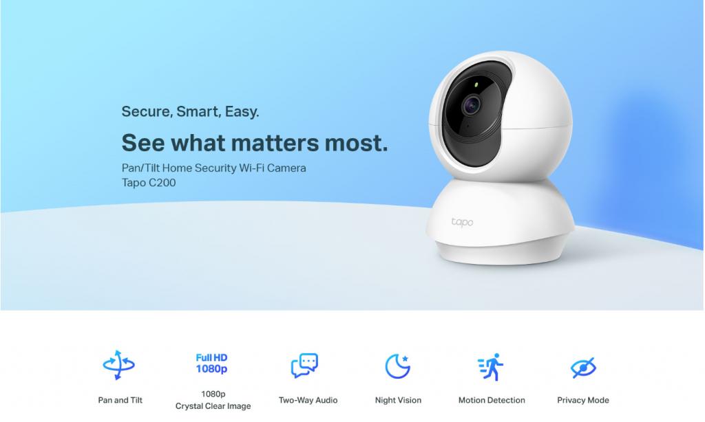 H TP-Link παρουσιάζει την Tapo C200 Pan/Tilt Home Security Wi-Fi Camera